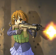 EOTech Fabrique_Nationale PEQ_box character:Hirisawa_Yui firearm:SCAR_L holographic_sight school_uniform series:K-ON! // 900x885 // 213.0KB