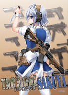 Colt Glock Heckler_and_Koch IMI Ingram Magpul angled_foregrip character:Sakuya_Izayoi dot_sight firearm:CZ-75 firearm:Desert_Eagle firearm:Glock_17 firearm:M1911A1 firearm:M4_carbine firearm:MAC-11 firearm:MP5K firearm:Mk.23_SOCOM headset knife series:Touhou // 1024x1438 // 489.4KB