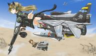 Colt fighter_jet firearm:M16 firearm:M60 strike_witches vehicle:F-14 woodland_camo // 1300x764 // 311.1KB