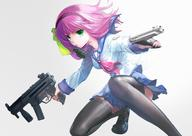 Beretta Heckler_&_Koch firearm:Beretta_92 firearm:MP5 frag_grenade school_uniform series:Angel_Beats thighhighs // 1500x1060 // 328.0KB